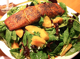 Grilled Salmon Peach Salad